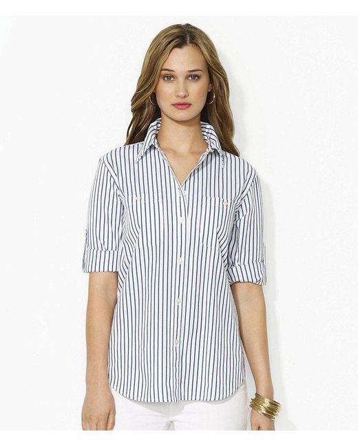 Lauren by Ralph Lauren | Blue Lauren Jeans Co. Carter Roll-sleeve Shirt | Lyst