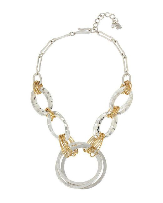 Robert Lee Morris | Metallic Wire-wrapped Hammered Circle Frontal Necklace | Lyst
