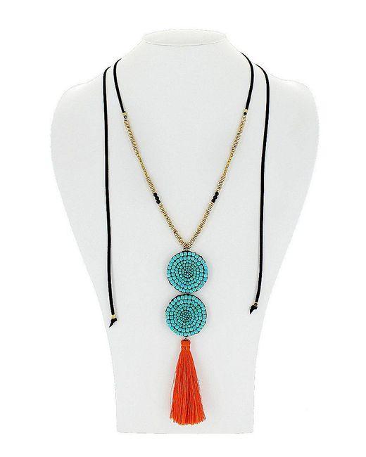 Panacea | Blue Adjustable Turquoise Beaded And Orange Tassel Pendant Necklace | Lyst