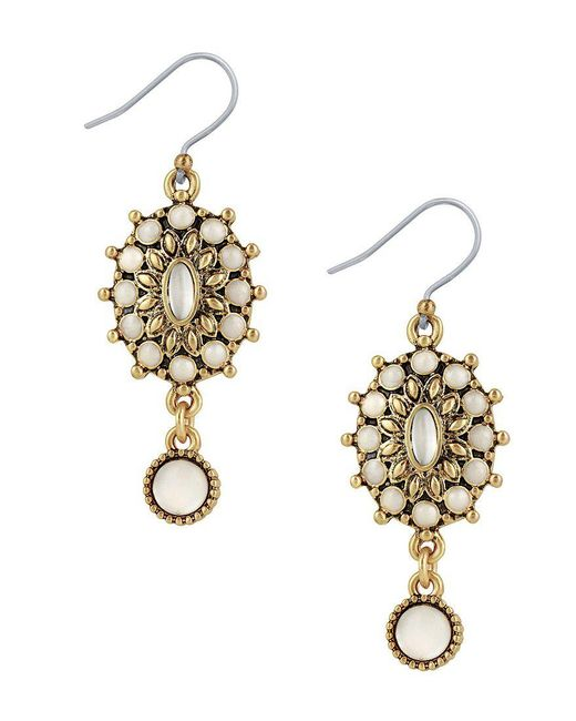 Lucky Brand | Metallic Squash Blossom Mother-of-pearl Drop Earrings | Lyst