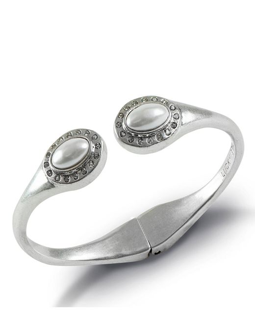 Lucky Brand - Metallic Pearl Circle Stone Cuff Bracelet - Lyst