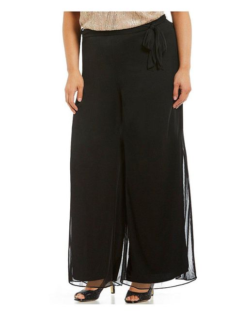 Alex Evenings - Black Plus Tie-detail Mesh Wide-leg Pants - Lyst