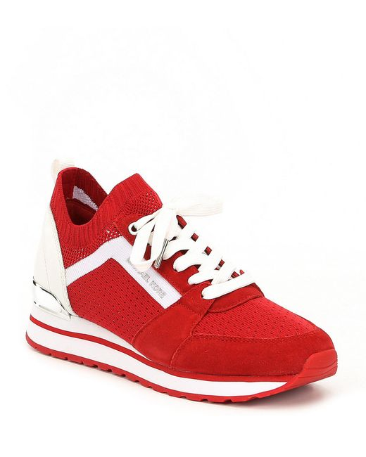 MICHAEL Michael Kors - Red Billie Knit Trainer Suede Sneakers for Men - Lyst
