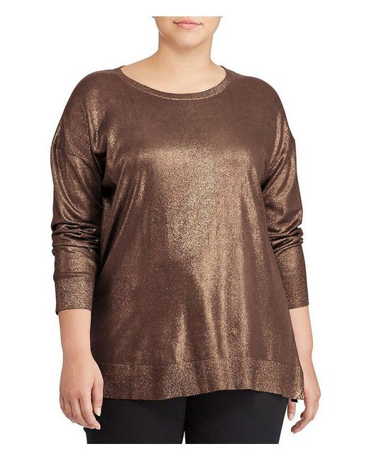 Lauren by Ralph Lauren | Brown Plus Metallic Cotton-blend Sweater | Lyst