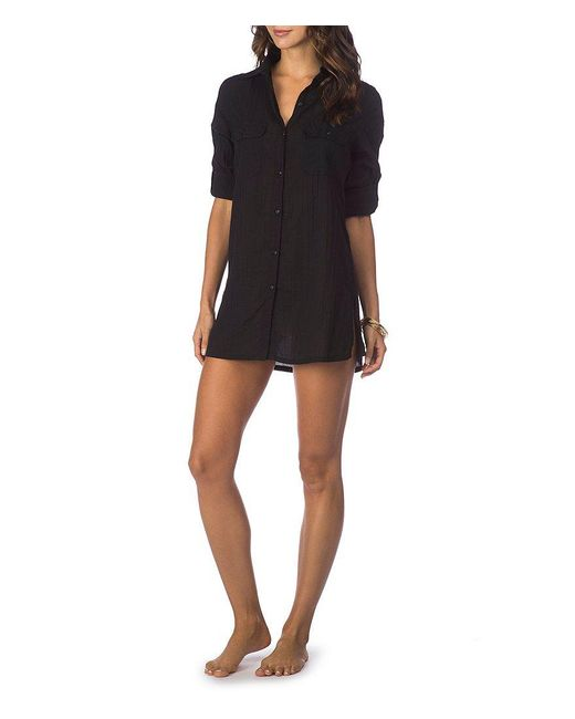 Lauren by Ralph Lauren | Black Cotton Camp Shirt Cover-up | Lyst