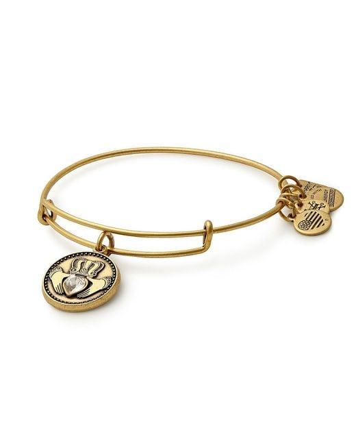 ALEX AND ANI - Metallic Claddagh Charm Bangle Bracelet - Lyst