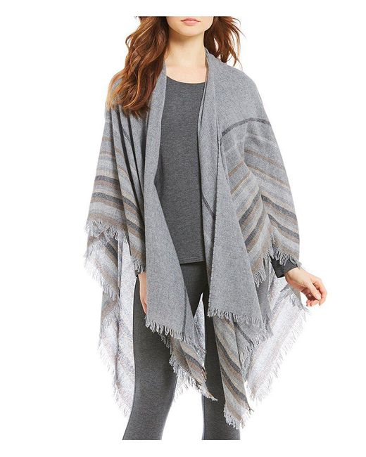 Eileen Fisher | Gray Wool Stripe Mix Poncho | Lyst