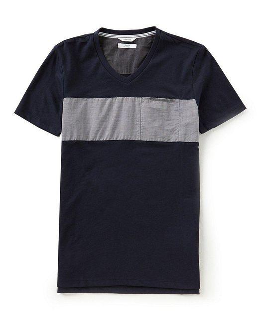 CALVIN KLEIN 205W39NYC - Blue Slim-fit Linear Stripe Short-sleeve V-neck Tee for Men - Lyst