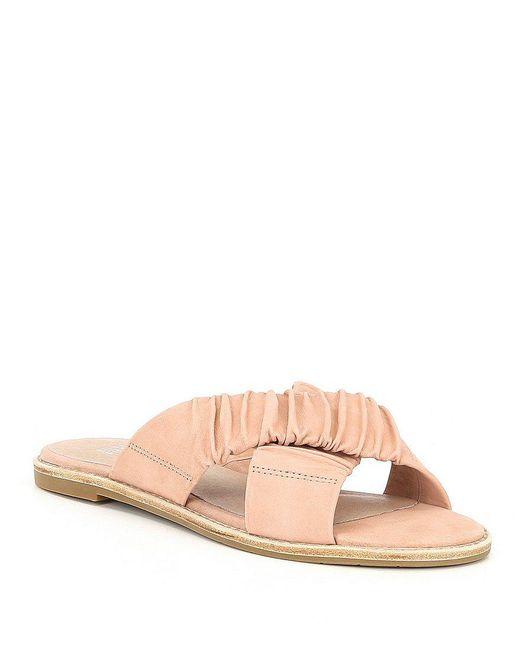 Nubuck Leather Cross Slide Sandals ZsfwI5xfVL