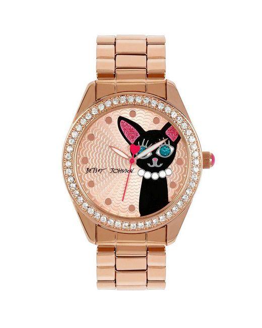 Betsey Johnson | Metallic Cat Crystal Bezel Analog Bracelet Watch | Lyst