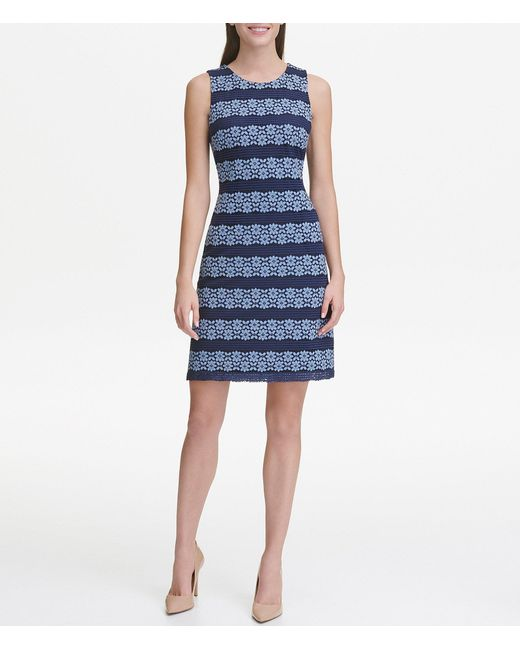 fed081433aa Tommy Hilfiger - Blue Linear Floral Lace Sleeveless A-line Dress - Lyst ...