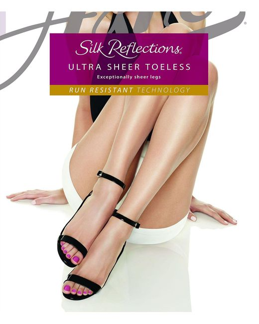 Hanes - Natural Silk Reflections Ultra Sheer Toeless Control Top Pantyhose - Lyst