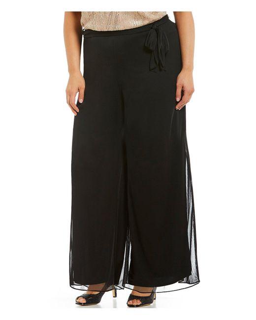 Alex Evenings - Black Plus Tie-detail Mesh Wide-leg Pants - Lyst