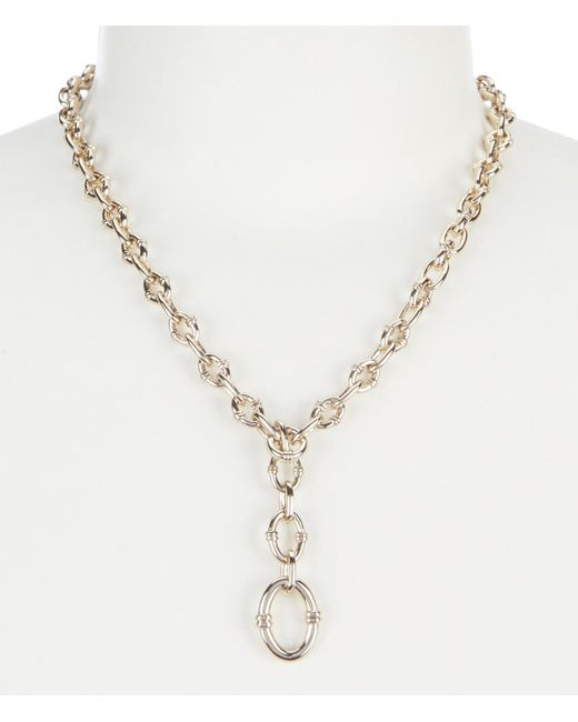Lauren by Ralph Lauren - Metallic Rib Link Y Necklace - Lyst