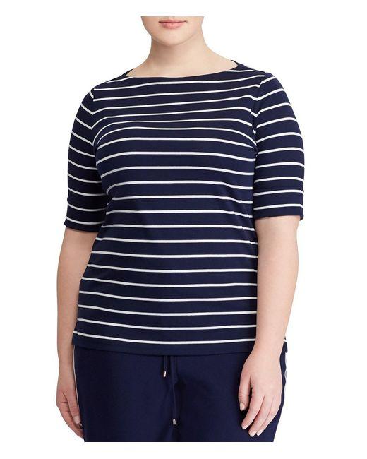 Lauren by Ralph Lauren - Blue Plus Size Stripe Cotton Boatneck T-shirt - Lyst