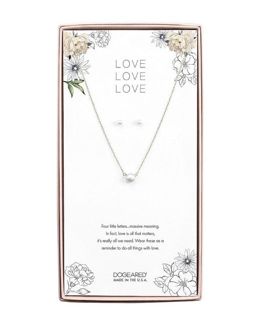 Dogeared - Metallic Love Love Love Pearl Necklace And Earrings - Lyst