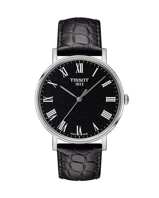 Tissot - Everytime Men's Black Leather Strap Watch for Men - Lyst
