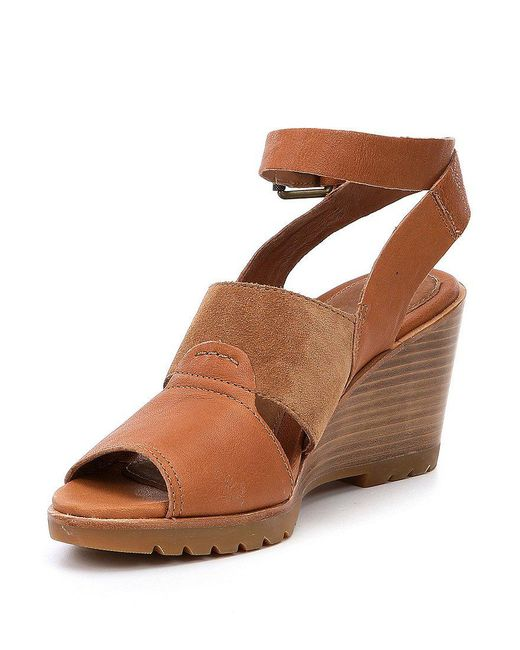 Sorel After Hours Leather and Suede Ankle Strap Wedge Sandals zFSiaGkmN