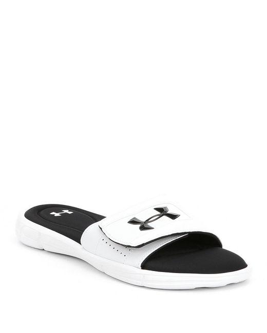 7f4d32a4540e Lyst - Under Armour Men s Ignite Slide On Sandals in Black for Men