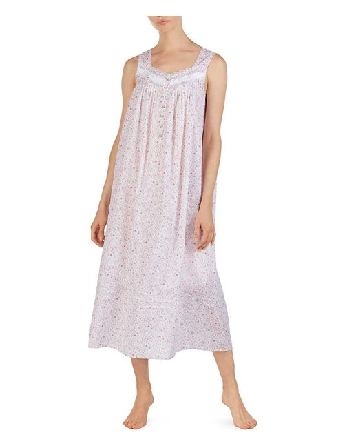 9ae3c61d6e Eileen West - Purple Floral Ditsy Print Lawn Embroidered Ballet Nightgown -  Lyst ...