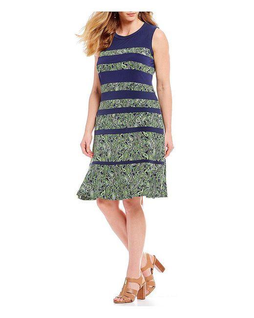 MICHAEL Michael Kors - Green Paisely Paneled Sleeveless Dress - Lyst