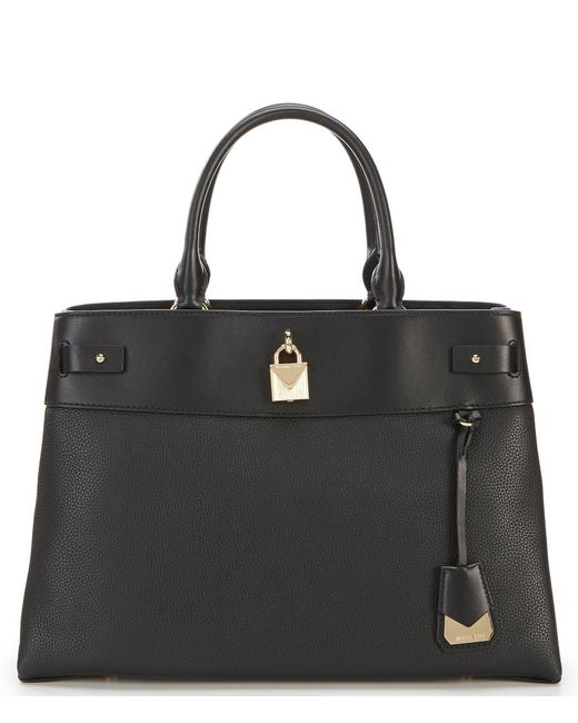 c6f2dea477b8 Michael Kors - Black Michael Gramercy Polished Leather Satchel - Lyst ...