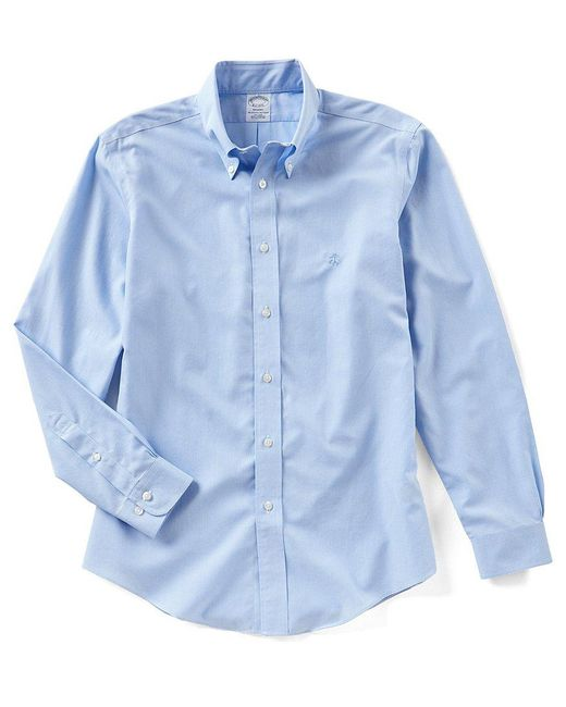 Brooks Brothers   Blue Non-iron Regent-fit Solid Long-sleeve Woven Shirt   Lyst