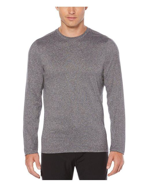 Perry Ellis | Gray Slim-fit Active Solid Jersey Long-sleeve Tee for Men | Lyst