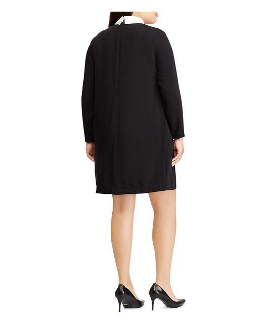 Lyst Lauren By Ralph Lauren Plus Size Collared Layered Crepe Shift