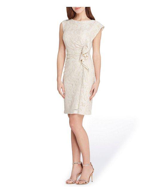 Tahari - Multicolor Metallic Lace Ruffle Front Dress - Lyst