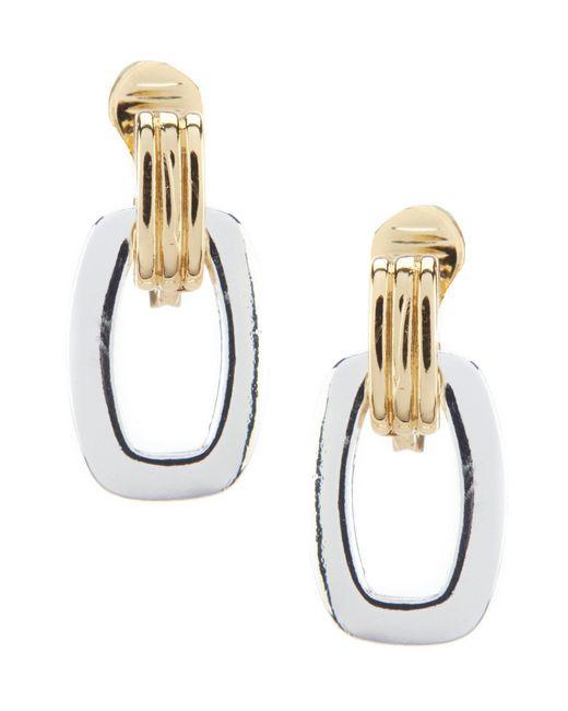 Anne Klein - Metallic Two Tone Clip Drop Earrings - Lyst