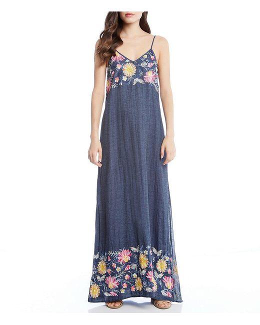 Karen Kane - Blue Floral Embroidered Maxi Dress - Lyst