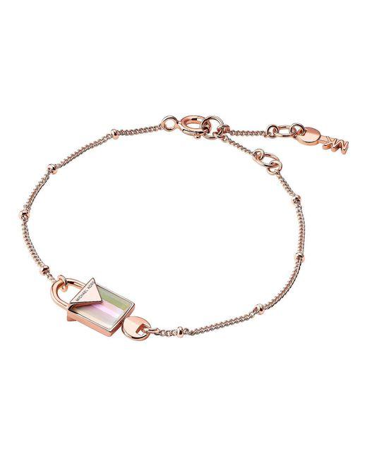 Michael Kors - Metallic Women's Kors Color Collection Sterling Silver Rose Quartz Padlock Bracelet - Lyst