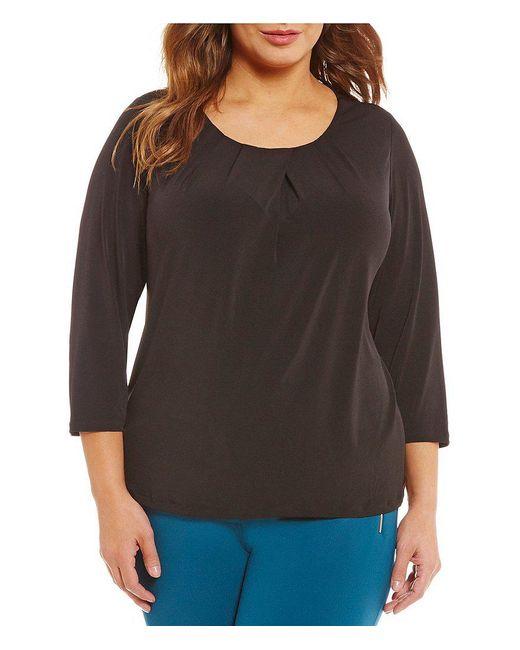 Calvin Klein   Black Plus Matte Jersey 3/4 Sleeve Top   Lyst