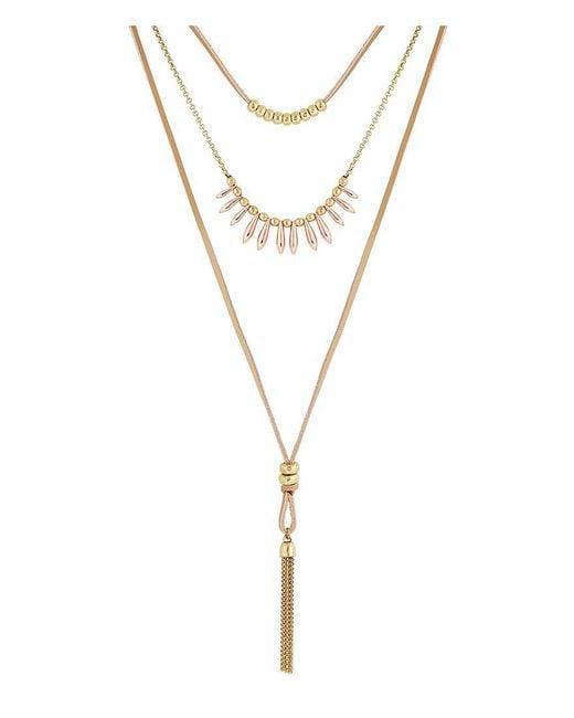 Lucky Brand   Metallic Multi-strand Choker Necklace   Lyst