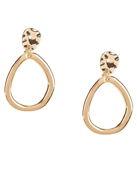 Anne Klein - Metallic Hammered Drop Hoop Clip-on Earrings - Lyst