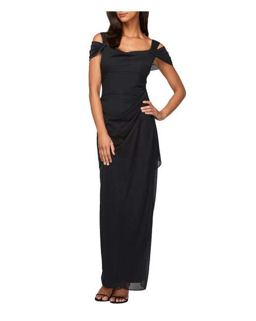 Alex Evenings - Black Petite Exposed-shoulder Mesh Gown - Lyst