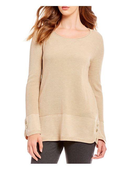 Calvin Klein - Natural Fine Gauge Knit Button Trim Shirttail Hem Sweater - Lyst
