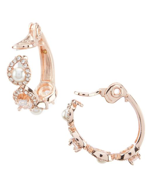 Anne Klein - Metallic Pearl Pave Clip Hoop Earrings - Lyst