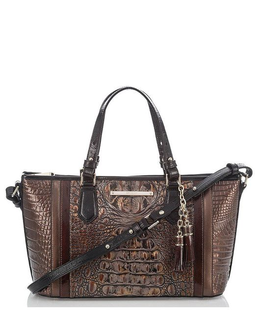 Brahmin | Brown Cosimo Collection Mini Asher Crocodile-embossed Tasseled Tote | Lyst