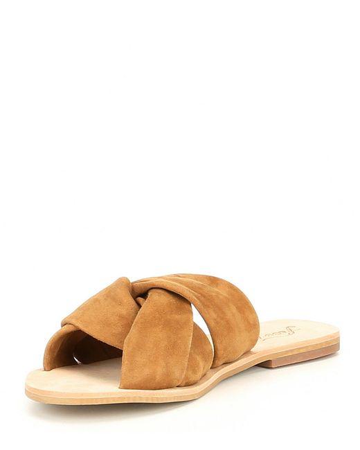 40c0c0a9cfc5 ... Free People - Brown Rio Vista Suede Slide Sandals - Lyst ...