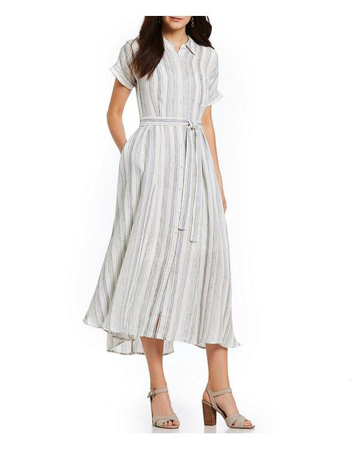 Antonio Melani - Blue Hazel Linen Stripe Midi Shirt Dress - Lyst