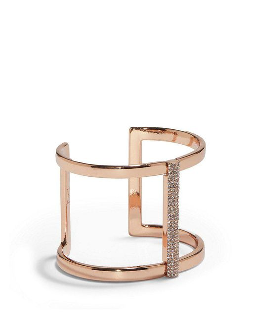 Vince Camuto - Metallic Pave Rose Gold T-bar Cuff Bracelet - Lyst