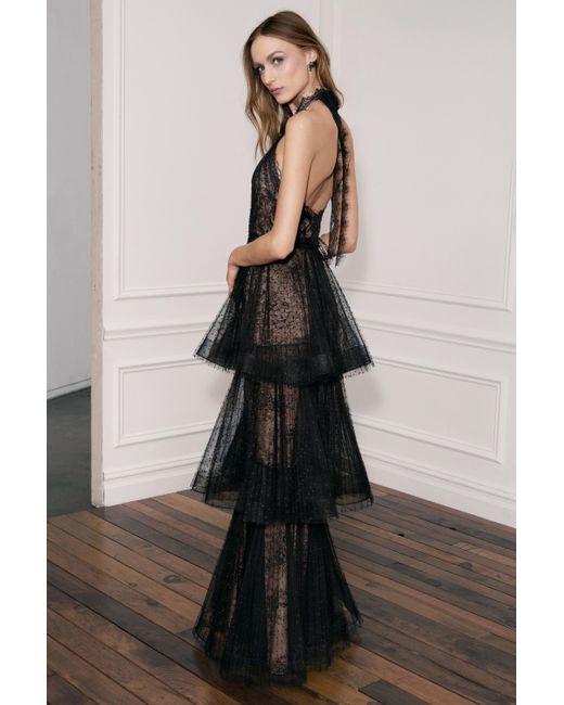 Marchesa notte - Black Sleeveless Poin-d' Esprit Tiered Halter Gown - Lyst