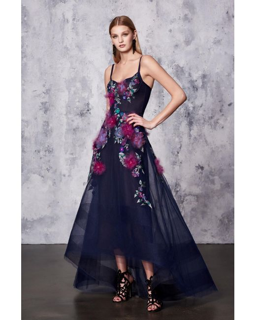 Marchesa notte - Navy Blue Sleeveless High-low Gown - Lyst