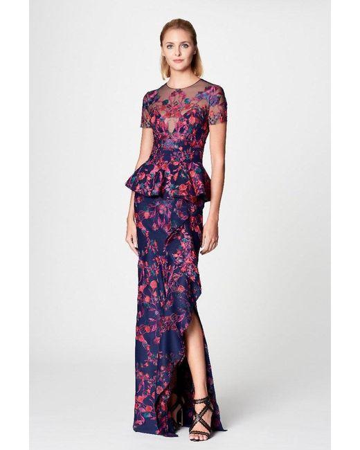 Lyst - Marchesa Notte Navy Floral Scuba Knit Peplum Evening Gown in Blue