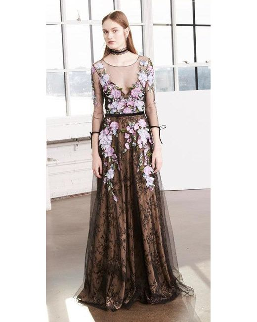 Lyst - Marchesa Notte Black Sleeve Floral Tulle Evening Gown in Black