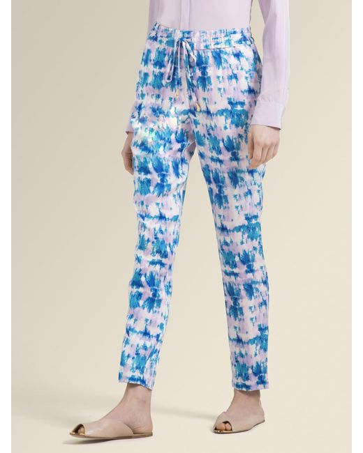 bb1debb7800ce DKNY - Blue Printed Pull-on Pant - Lyst ...