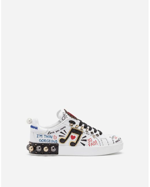 6c8ac519a2d3 Dolce   Gabbana - White Sneakers In Printed Leather With Applications - Lyst  ...