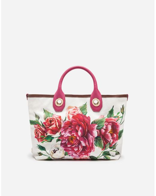 Dolce & Gabbana - Red Small Capri Shopping Bag In Printed Canvas - Lyst